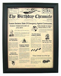 Birthday Newspapers for Any Year Born