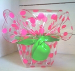 Clear Acrylic Plastic Ruffled Container Basket - Pink Polka Dots