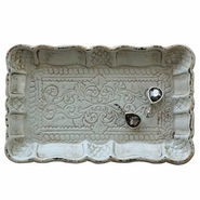 Creative Co-Op Decorative Wood Tray with Scalloped Edge