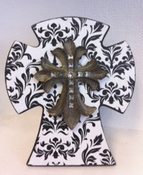 Faith Collection Standing Cross with Stones - Floral Print