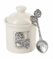 Ganz Condiment Jar with Spoon - Artichoke