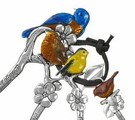 Ganz Bird Measuring Spoons Colored Enamel