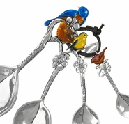 Ganz Measuring Spoons - Birds with Colored Enamel