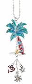 Ganz Car Charms - Color Art Palm Tree with Surfboard
