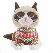 "Ganz Grumpy Cat 8"" Sitting Style in Holiday Sweater"