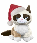 "Ganz Grumpy Cat 8"" Sitting Style with Santa Hat"