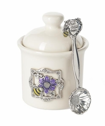 Ganz Condiment Jar with Spoon - Bee Happy