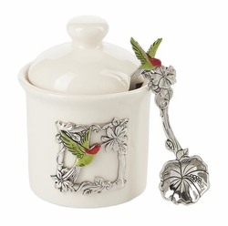 Ganz Condiment Jar with Spoon - Hummingbird