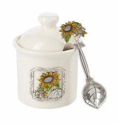Ganz Condiment Jar with Spoon - Sunflower