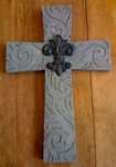 Ganz Resin Wall Cross Fleur De Lis - Blue