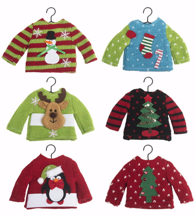 Ganz Ugly Sweater Christmas Ornaments - Set of 6 | Hearts ...