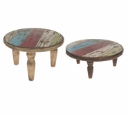Ganz Urban Home - Reclaimed Color Wood Stools (2 pc. set)