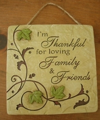 Ganz Wall Plaque - Thankful for Family and Friends