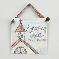 "Glory Haus - Amazing Grace Chapel Ribbon Canvas - 6"" x 6"""