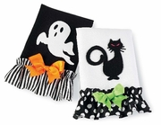 Mud Pie Halloween Black Cat and Ghost Tea Towels Set