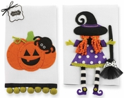 Mud Pie Halloween Pumpkin and Witch Tea Towels Set