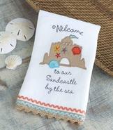 Mud Pie Sandcastle By The Sea Linen Towel