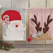 Mud Pie St. Nick Holiday Ticking Towels - Santa and Reindeer