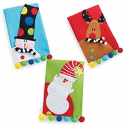 Mud Pie Santa, Reindeer, Snowman Linen Tea Towels - Set of 3