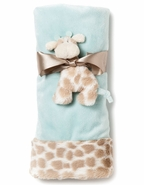 Nat & Jules Colby Giraffe Baby Blanket and Rattle Set - Blue