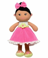 Snuggle Buddy Baby Doll - Dark Skin, Pink Dress and Bow