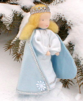 """Evi Doll <br>Snow Queen <br>5.5"""" Waldorf Doll"""