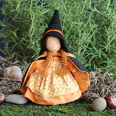 "Evi Doll <br>Witch Girl <br>6"" Waldorf Doll"