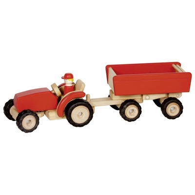GoKi Red Tractor <br>with Trailer