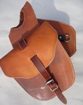 Double Pouch Leather Horn Bag