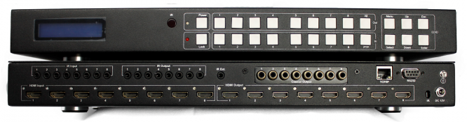 WolfPack™ 4K 8x8 HDMI Matrix Switch with 8-Coax Audio Outs