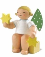 Small Sitting Angel Holding Two Stars (New in 2013) - Wendt & K�hn