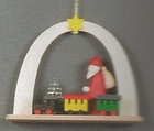 Santa and Train Under Arch Handcrafted In The Erzgebirge Of Germany