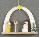 Snowman And Birdhouse Under Arch handcrafted In The Erzgebirge Region Of Germany