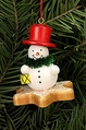 Snowman On Gingerbread Star Cookie Tree Ornament - Christian Ulbricht GmbH & Co