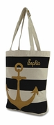 Beach Canvas Tote with Anchor | Embroidered