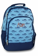 Boys Backpack Name Monogram | Fish Pattern