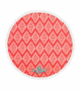 Circle Beach Towel Damask Pattern | Personalized