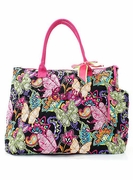 Embroidered Butterfly Pattern Tote Bag