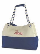 Embroidered Color Block Tote Bag