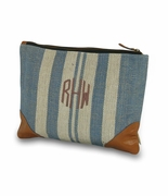 Embroidered Cosmetic Travel Bag - Denim