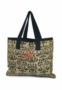 Embroidered Damask Burlap Tote Bag