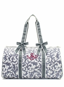 Embroidered Damask Travel Tote - Large Grey Quilted