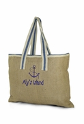 Embroidered Jute Burlap Tote Bag