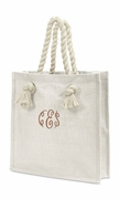 Embroidered Jute Tote Bag