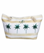 Embroidered Palm Tree Beach Tote Bag