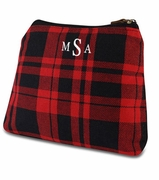 Embroidered Plaid Accessory Bag | Monogram