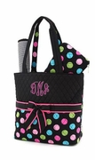 Embroidered Polka Dot Diaper Tote