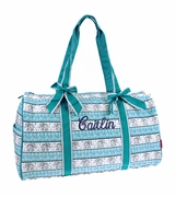 Embroidered Quilted Tote Bag Duffle - Elephant