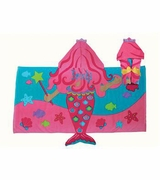 Girls Mermaid Hooded Beach Towel | Personalized