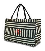 Jute Black White Stripe Beach Bag